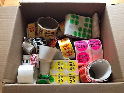 Box Of Miscellaneous Retail Labels/Stickers