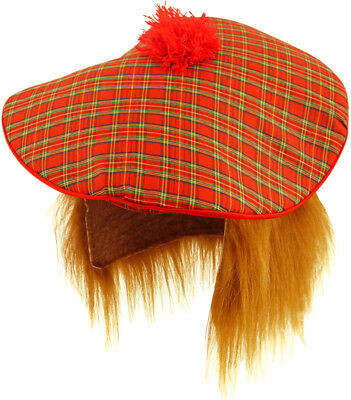 TARTAN HAT Scottish Tam O Shanter Ginger Hair Men Fancy Dress Adult Wig Stag Do