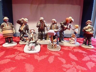 Flambro Emmett Kelly Jr Clown collection lot of 7 figurines see pics