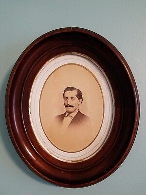 Antique Oval Framed Portrait Solid Wood 11 X 13 Inches Vintage Wood Frame
