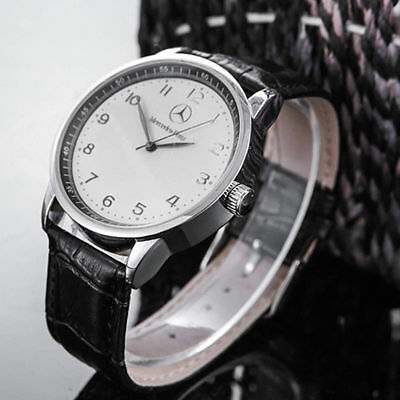 Mercede Benz Mens Watch Stainless Steel Black Leather Strap Watch- White Face