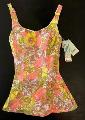 Vintage 1960s 1970s Bright Floral Robby Len Skirted Swimsuit NOS With Tags