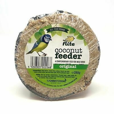 Flite Suet Filled Coconut Halves - High Energy Wild Bird Garden Suet Feeder