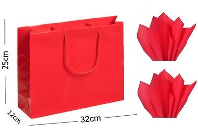 Red Glossy Landscape Boutique Gift Bags Strong Shiny Gloss Bag & Matching Tissue