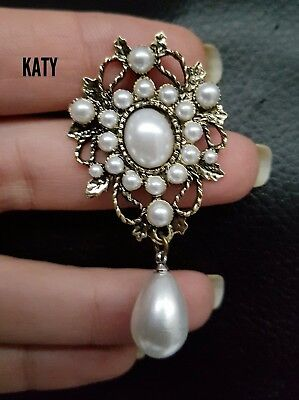 Small Vintage Style Drop Dangle Pearl Antique Gold Tone BROOCH Pin Gift