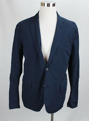 NEW Polo Ralph Lauren Men's Blazer Sportcoat XL Navy Blue Seersucker Cotton Slim