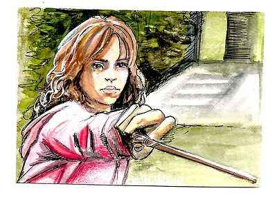 2 Sided 1/1 Sketch Card Emma Watson As Hermione Harry Potter By Brian Vavra