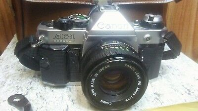 Vintage Canon AE-1, 35mm SLR Camera,Case,&Carry Strap, some damage see descr SM
