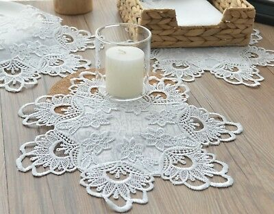 Set 3 White Lace Doilies Lot French Country Table Runners Wedding Coasters