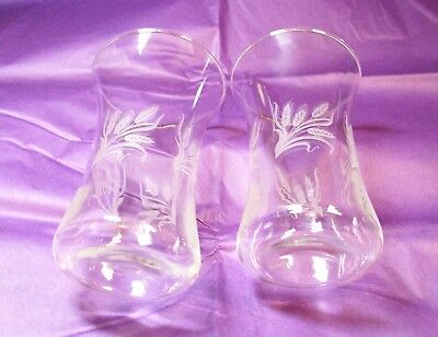 """Vintage Etched Juice Glasses X2 - Wheat Etching - 4.5 """" Tall - Unknown Maker"""
