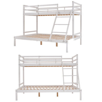 Pine Wood 3 Sleeper Bed Frame Double&Single Bed Home Bedroom Furniture Bed White