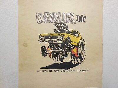 "Vintage Ed ""Big Daddy"" Roth Hand Printed-Chevelles, Inc.-Poster Card-1966 Chevy"