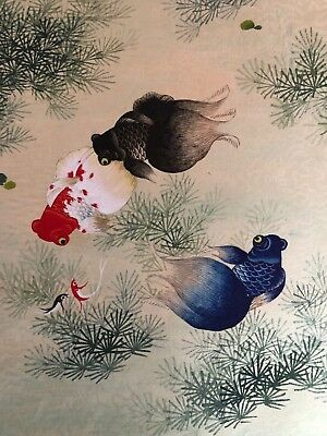Japanese painting of fish on paper