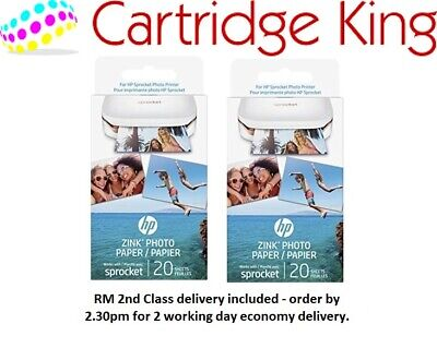 HP ZINK Sticky-Backed Photo Paper 2x3 inch 40 sheets new