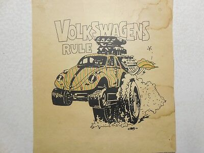 "Vintage Ed ""Big Daddy"" Roth Hand Printed-Volkswagens Rule-Poster Card-Stripes"