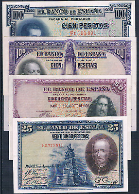 Spain-Banknote  Rare  Lot  4 Pcs  -Civil Wars  1925/1928 - Xf+!!