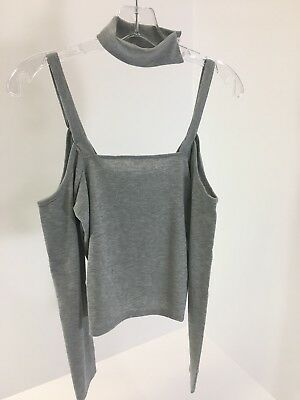 cf405d04f2f330 Boo-Hoo Woman s Lucy Ribbed Cold shoulder choker top heather gray US 4 UK8