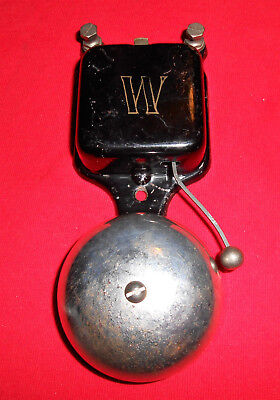 """Antique Electric Butler/Door Bell Marked """"W""""-Chorme Bell-All Steel Body"""