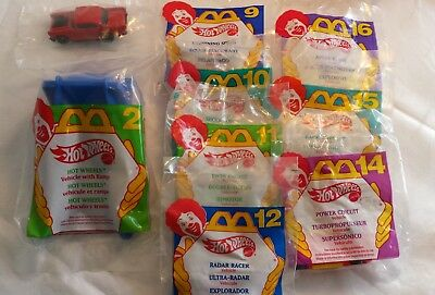 Lot of 12 Unopened Hot Wheels 1994-5  McDonald's Happy Meal Toys -