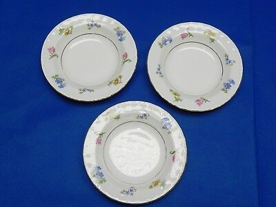 Lot of 3 Vintage Pope Gosser Rimmed Salad Dessert Bowl Revere Pattern Flowers