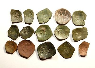 Lot Of 15 Ancient Byzantine Cup Coins - 044