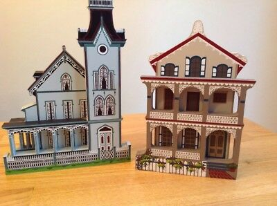 Pair Sheila's CAPE MAY NJ 3d shelf Sitter  HOUSES  The Abbey II &Stockton Place