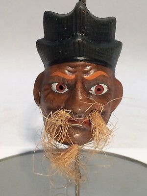 Vintage Japanese Ceramic Clay Dorei Bell Signed by Artist Old Man w/ Mustache