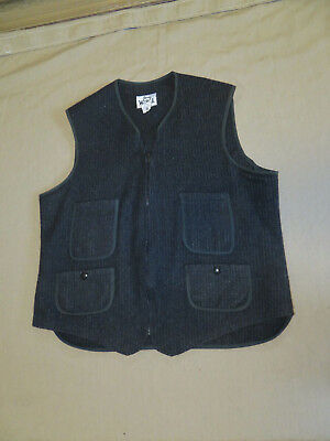 Mens Woolrich wool vest, Charcoal, zip front, size 42, Nice