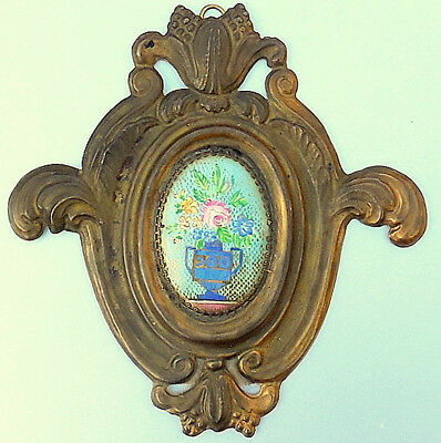 Antique Mid-19th Century French Hand Painted Porcelain & Brass Floral Plaque