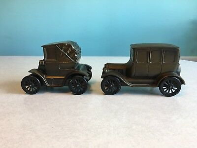 2 Vintage metal/brass Banthrico coin bank cars, souvenirs/Mich., great condition