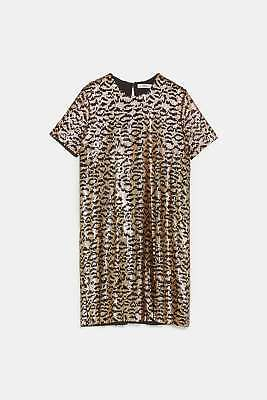 ffcc39c25a Zara New Animal Print Sequin Dress Mini Short Sleeve Black Gold Party Size S  m