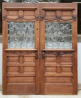 Pr. Antique (?) American Stained/Beveled and Jeweled Double Doors