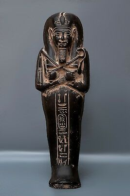 ANCIENT EGYPT EGYPTIAN Antiques KING TUT USHABTI SHABTI STATUE Black Stone BC