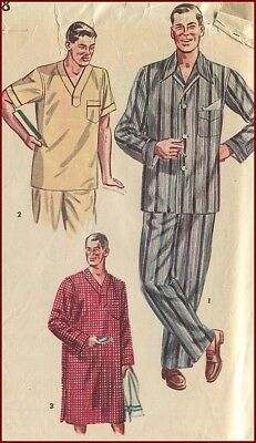 1950s Vintage Nightshirt Pajamas Sewing Pattern Mens Large 42-44