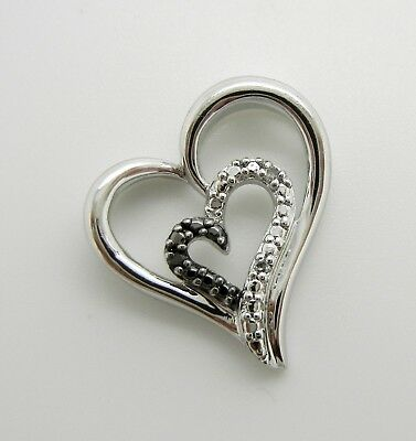 925 Sterling Silver Black And White Diamond Heart Pendant~Beautiful