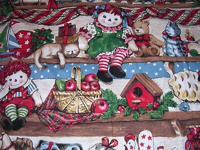 040J Vintage Springs COTTON QUILT Fabric RAGGEDY ANN CATS TOYS CHRISTMAS 2+YDS