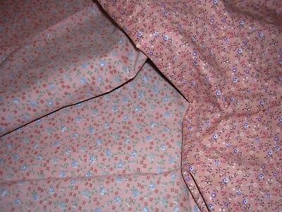 051J Vintage Cotton Quilt Fabric PEACH BLUE LAVENDER Calico 2 Different 1 YD 20""