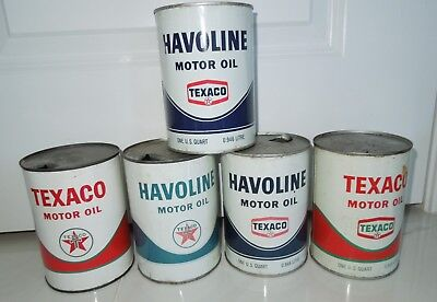 5 Vintage Texaco Havoline Quart Oil Can Perfect Collection