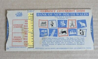 1960s Bank Of New South Wales Currency Conversion Guide