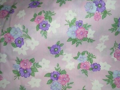 070J VTG Wamsutta COTTON QUILT Fabric PINK PURPLE BLUE Floral DOLL CLOTHES 1YD
