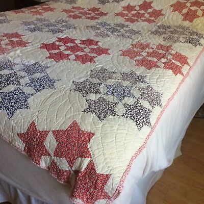 """vtg quilt 6 POINT STAR  hand quilted pieced red white blue 82x65"""" FARM COT CHIC"""