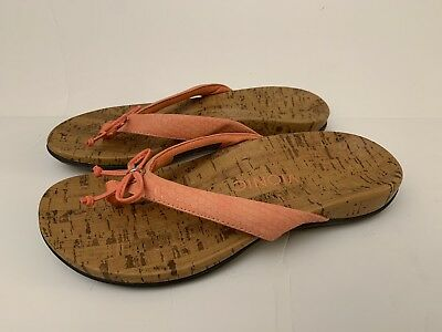 ca5ff4c3dfd7 Vionic Cassie Orthaheel Shoes Sz 7 WIDE Pink Salmon Bow Slides Thong Sandals
