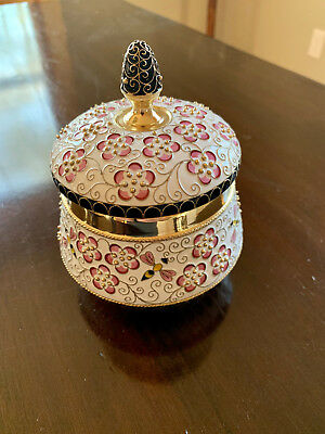 Russian Silver Gilt Sterling Shaded Enamel Covered Sugar Bowl Cherry Blossoms