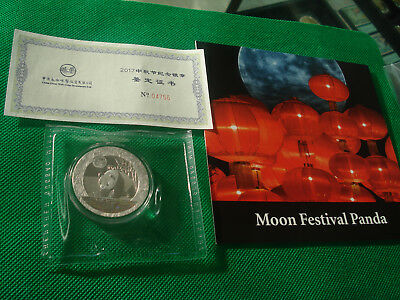 2017 Z China Moon Festival Silver Panda 1 oz Hologram GEM PROOF Medal