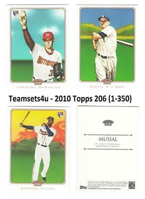 2010 Topps 206 (1-350) Baseball Set ** Pick Your Team **