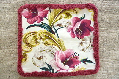 Barkcloth Pillow Cover Pink White Floral Flowers with Brush Fringe