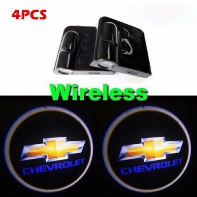 4x Wireless Chevrolet Ghost Shadow Projector Logo LED Door Step Light Courtesy