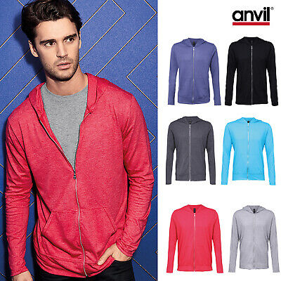Anvil Triblend Full-Zip Hooded Jacket 6759 - Men Plain Poly Cotton Thin Hoodie