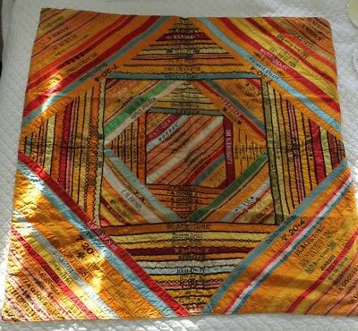 RARE Beautiful Antique Early 1900s Cigar Tobacco Silk Ribbons Blanket Quilt