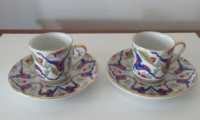 Porcelain Demitasse Cup and Saucer Gural Porselen Gold Trim Set of 2